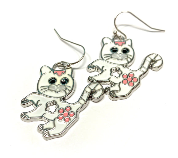 White Enamel Kitty Cat Earrings