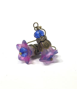 Lucite Flower Earrings- HandPainted Pink and Blue Trumpets