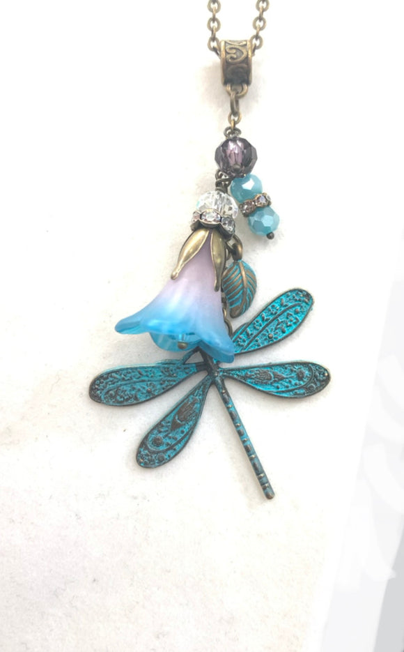 Dragonfly & Trumpet Flower Cluster Drop Necklace in Purple and Turquoise