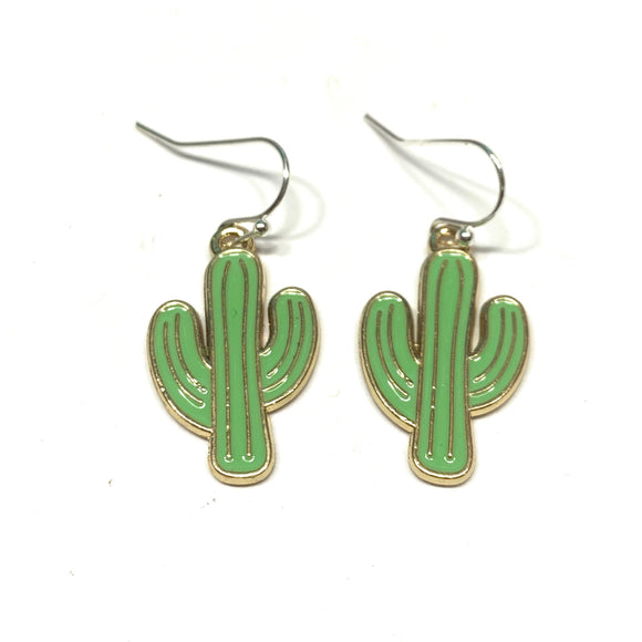 Enamel Cactus Earrings