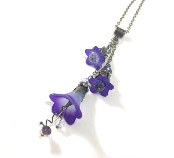 Customizable Handpainted Cluster Drop Flower Necklace