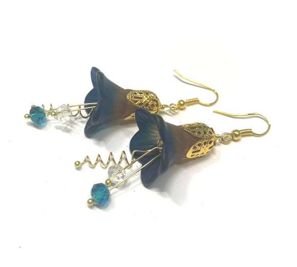 Lucite Flower Earrings- Hand Painted Brown and Blue Trumpets