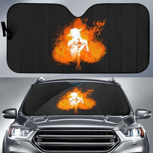 Ace On Fire One Piece Car Auto Sun Shades Universal Fit 051312 - CarInspirations