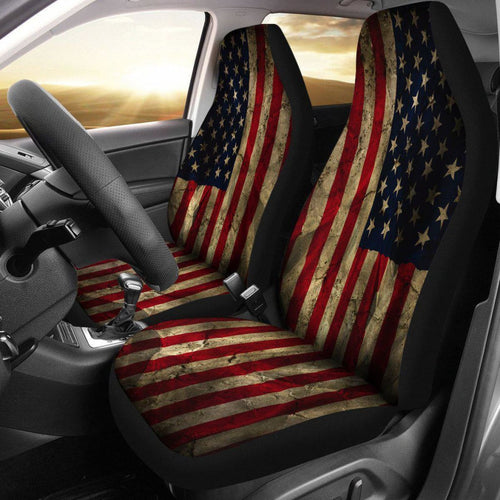 Aged American Flag Seat Covers Universal Fit 225721 - CarInspirations
