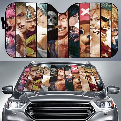 Art One Piece Team Car Sun Shades Anime Fan Gift H033120 Universal Fit 225311 - CarInspirations