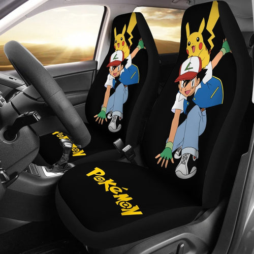 Ask Ketchum & Pikachu Car Seat Cover Pokemon Anime H200221 Universal Fit 225311 - CarInspirations