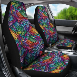 Boho Feathers Pattern Car Seat Covers (Set Of 2) Universal Fit 051012 - CarInspirations