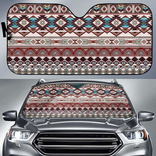 Brown Boho Chic Bohemian Aztec Car Sun Shades 232205 - YourCarButBetter