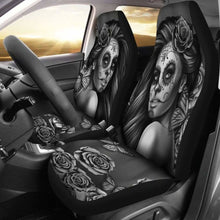 Load image into Gallery viewer, Calavera Black And White Car Seat Covers (Set Of 2) Universal Fit 051012 - CarInspirations