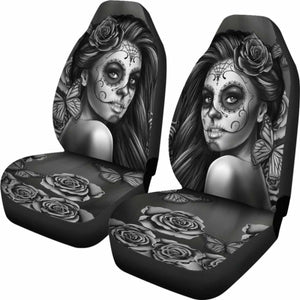 Calavera Black And White Car Seat Covers (Set Of 2) Universal Fit 051012 - CarInspirations