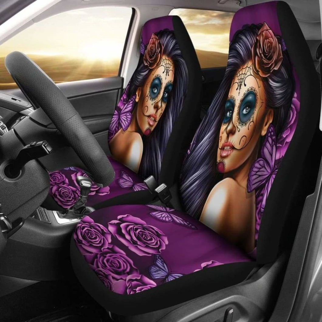 Calavera Purple Car Seat Covers (Set of 2) Universal Fit - CarInspirations