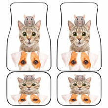 Load image into Gallery viewer, Cat Dog Mice Funny In White Theme Car Floor Mats Universal Fit 051012 - CarInspirations