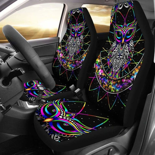 Colourful Owl - Car Seat Covers (Set of 2) Universal Fit - CarInspirations