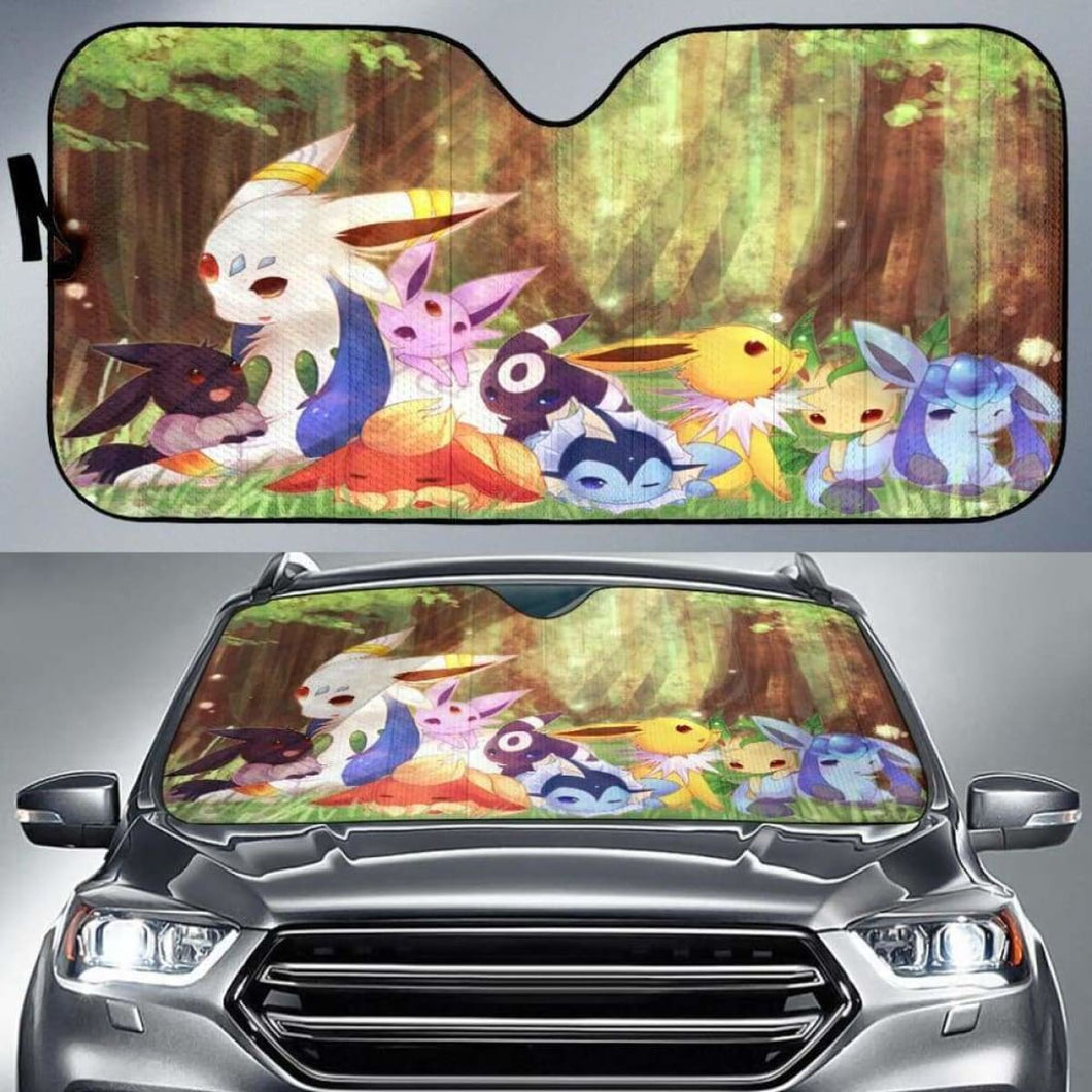 Eveelution Relax Pokemon Car Sun Shades 918b Universal Fit - CarInspirations