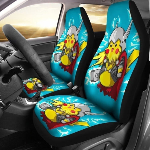 Funny Pikathor Car Seat Covers For Thor And Pika Fan Universal Fit 194801 - CarInspirations