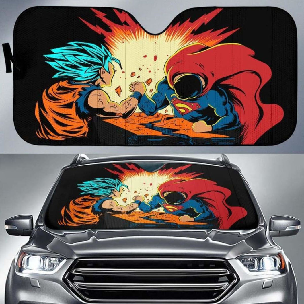 Goku Vs Superman Car Sun Shades 918b Universal Fit - CarInspirations
