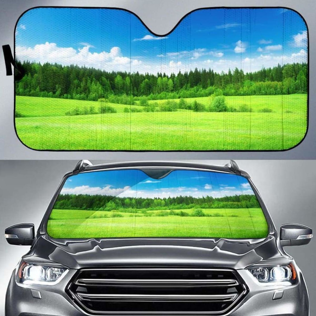 Green Grass Car Sun Shades 918b Universal Fit - CarInspirations