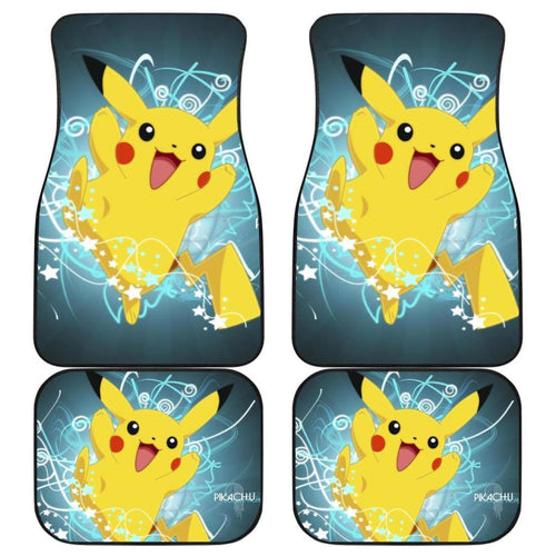 Happy Pikachu Car Floor Mats Pokemon Anime Fan Gift H200221 Universal Fit 225311 - CarInspirations