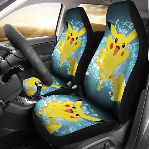 Happy Pikachu Car Seat Covers Pokemon Anime Fan Gift H200221 Universal Fit 225311 - CarInspirations