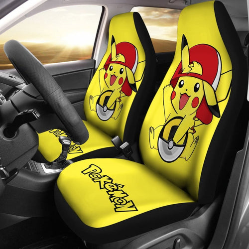 Happy Pikachu Pokemon Anime Fan Gift Car Seat Covers H200221 Universal Fit 225311 - CarInspirations