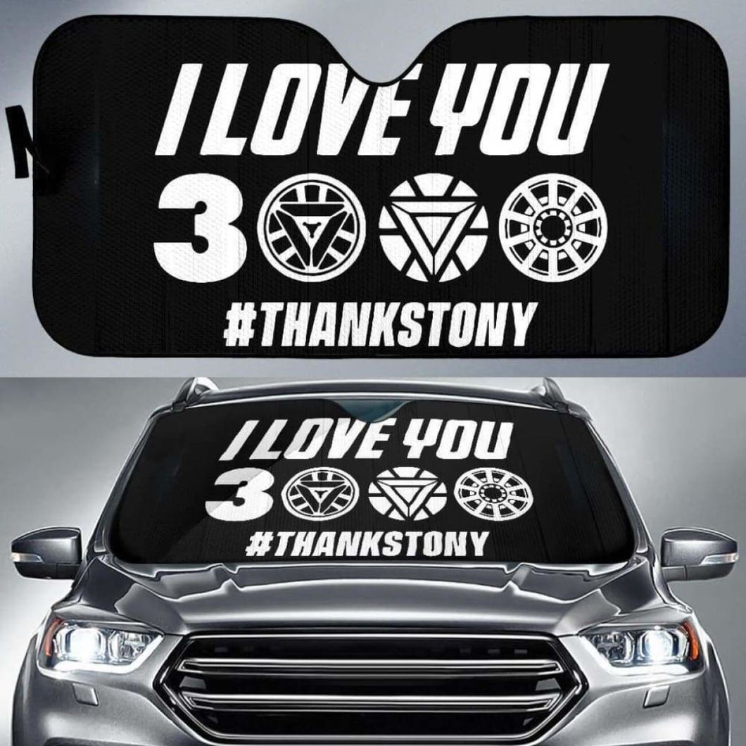 I Love You 3000 Thanks Tony Car Sun Shades 918b Universal Fit - CarInspirations