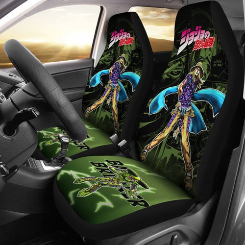 Jojo Bizarre Adventure Gyro Manga Checkerboard Style Car Seat Covers Anime Universal Fit 194801 - CarInspirations