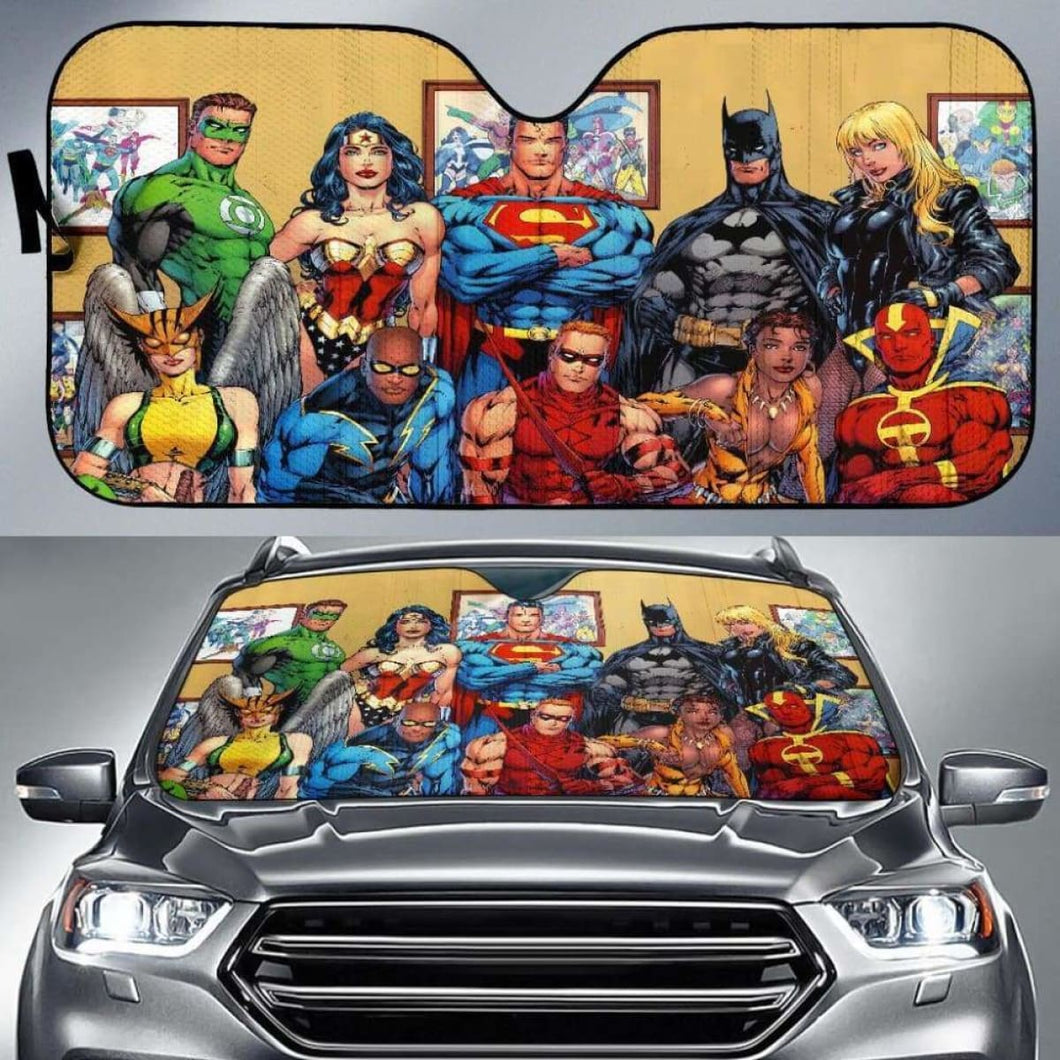 Justice League Car Sun Shade 918b Universal Fit - CarInspirations