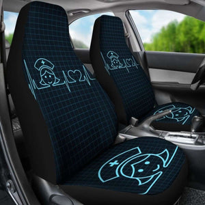 Nurse Heart Beat Car Seat Cover (Set Of 2) Universal Fit 051012 - CarInspirations