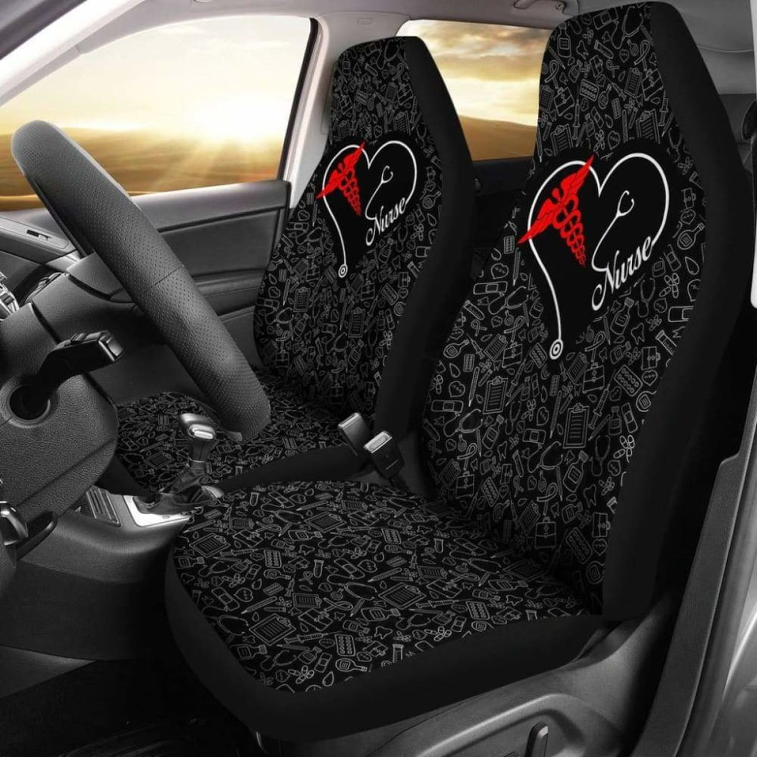Nurse Heart - Car Seat Covers (Set of 2) Universal Fit - CarInspirations