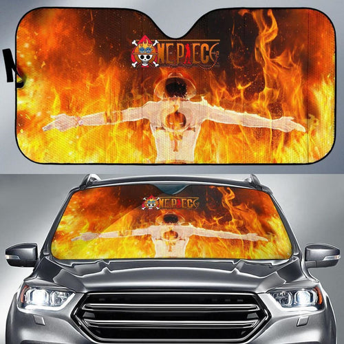 One Piece Ace On Fire Auto Sun Shade Nh06 Universal Fit 111204 - CarInspirations