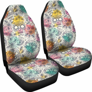 Pastel Sugar Skull Art Patterns Car Seat Covers Universal Fit 051012 - CarInspirations