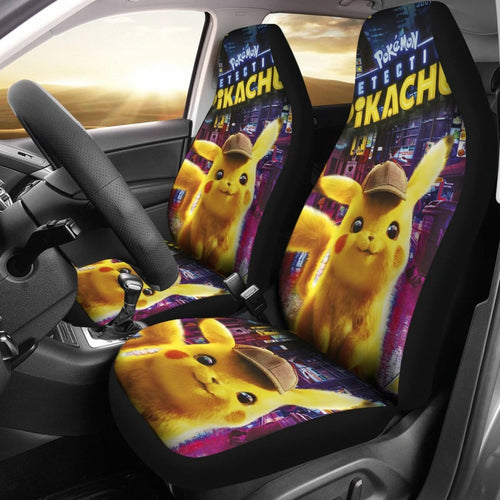 Pikachu Detective Car Seat Covers Pokemon Anime Fan Gift H200221 Universal Fit 225311 - CarInspirations