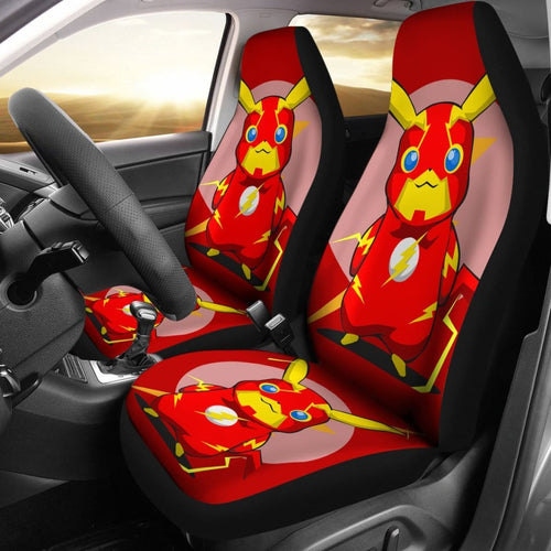 Pikachu Flash Car Seat Covers Pokemon Anime Fan Gift H200221 Universal Fit 225311 - CarInspirations