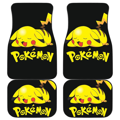 Pikachu Sleepy Car Floor Mats Pokemon Anime Fan Gift H200221 Universal Fit 225311 - CarInspirations