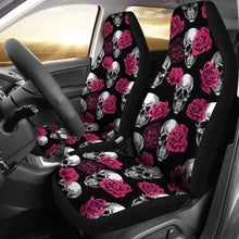 Load image into Gallery viewer, Pink Floral Skull Car Seat Covers (Set Of 2) Universal Fit 051012 - CarInspirations