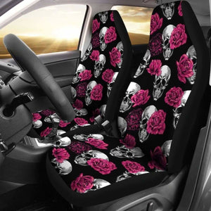 Pink Floral Skull Car Seat Covers (Set Of 2) Universal Fit 051012 - CarInspirations