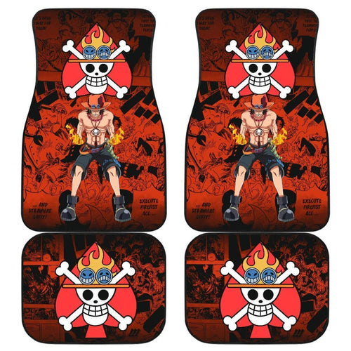 Portgas D. Ace One Piece Car Floor Mats Manga Mixed Anime Red Universal Fit 175802 - CarInspirations