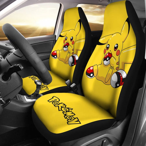 Pretty Pikachu Car Seat Covers Pokemon Anime Fan Gift H200221 Universal Fit 225311 - CarInspirations
