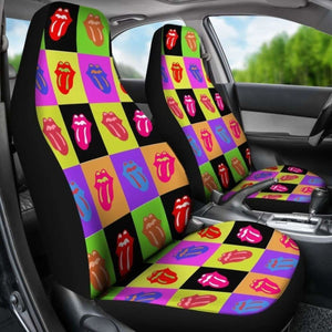 Rainbow Tongue Colorful Pattern Car Seat Covers (Set Of 2) Universal Fit 051012 - CarInspirations