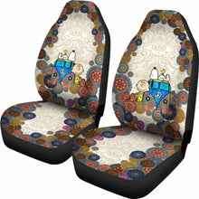 Load image into Gallery viewer, Snoopy On Vw Bus Cartoon Car Seat Covers (Set Of 2) Universal Fit 051012 - CarInspirations