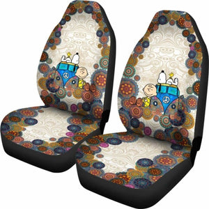 Snoopy On Vw Bus Cartoon Car Seat Covers (Set Of 2) Universal Fit 051012 - CarInspirations