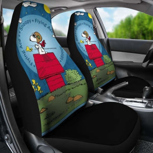 Snoopy The Flying Ace Cartoon Car Seat Covers (Set Of 2) Universal Fit 051012 - CarInspirations
