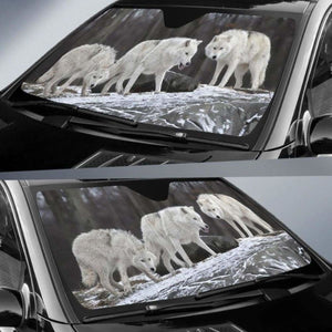 Snow Forest Wolf Auto Sun Shades 918b Universal Fit - CarInspirations