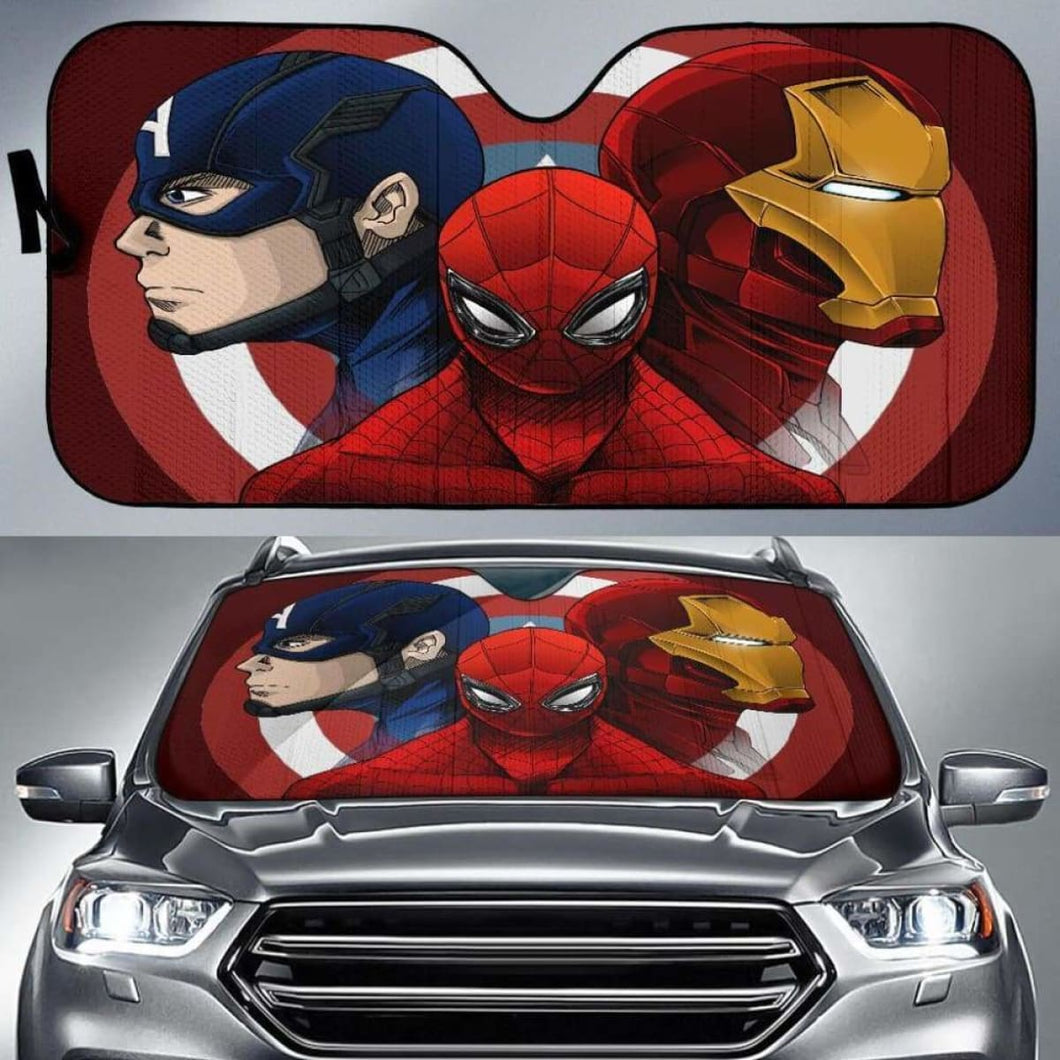 Spiderman Iron Man Captain America Car Sun Shades 918b Universal Fit - CarInspirations