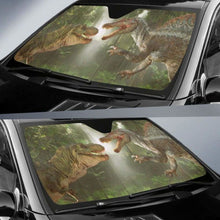 Load image into Gallery viewer, Spinosaurus Vs T-rex Auto Sun Shades 918b Universal Fit - CarInspirations