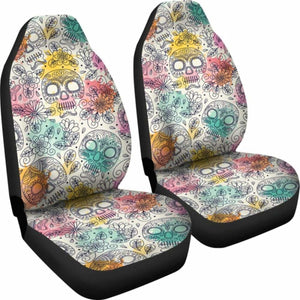 Sugar Skull Halloween Car Seat Covers 100421 Universal Fit - CarInspirations