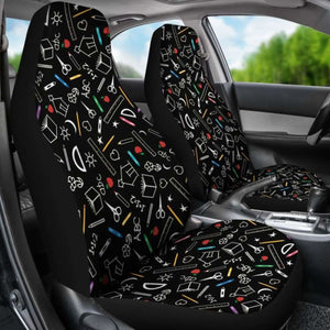 Teacher Pattern Car Seat Covers (Set of 2) Universal Fit - CarInspirations