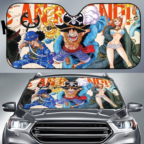 Team One Piece Car Sun Shades Anime Fan Gift H033120 Universal Fit 225311 - CarInspirations