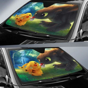 Toothless Pikachu Car Sun Shades 918b Universal Fit - CarInspirations
