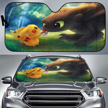 Load image into Gallery viewer, Toothless Pikachu Car Sun Shades 918b Universal Fit - CarInspirations